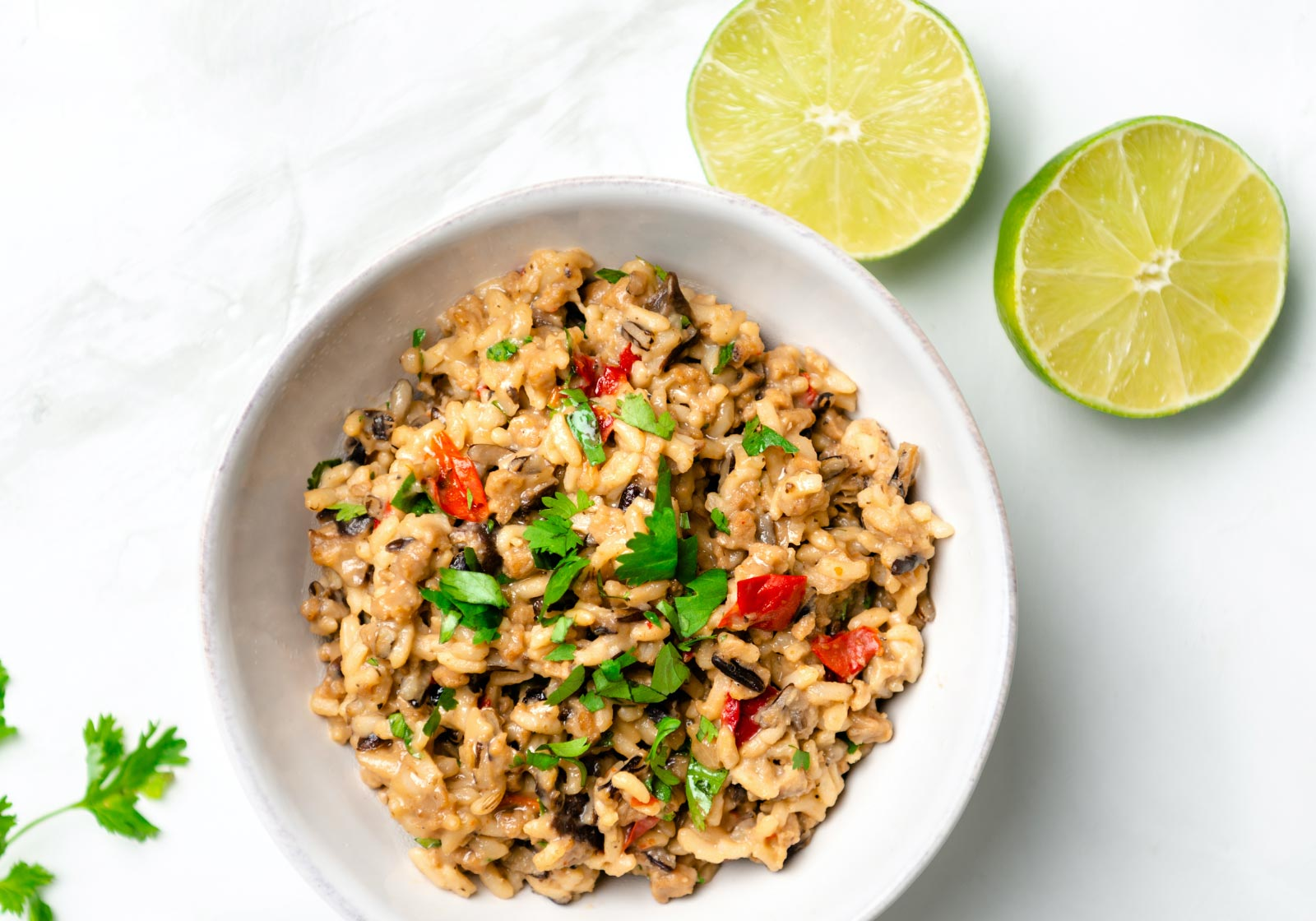 HMR Mushroom Risotto Entrée prepared with fresh cilantro and lime juice