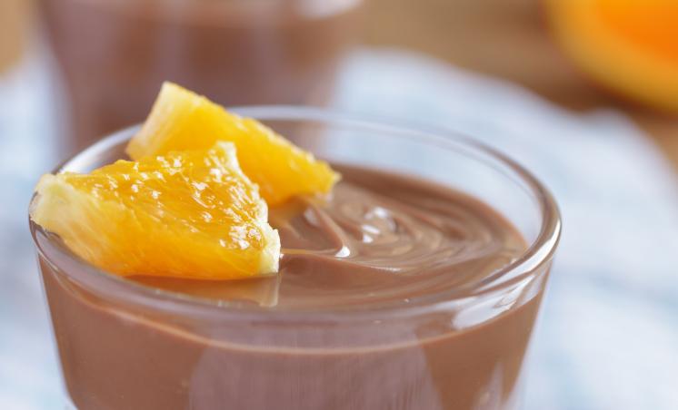 Chocolate Pudding with Mandarin Oranges