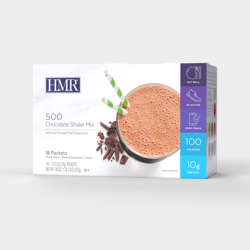 HMR 800 Chocolate Shake Mix, 18 servings, 160 calories and 16g of protein per serving