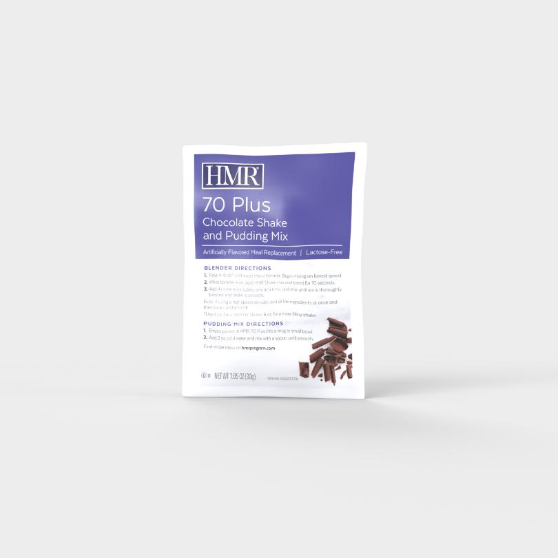 HMR 70 Plus Chocolate Shake and Pudding Mix single-serve packet