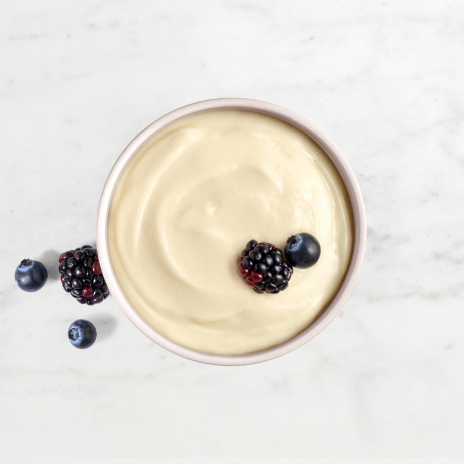 HMR 70 Plus Vanilla Pudding served with fresh fruit
