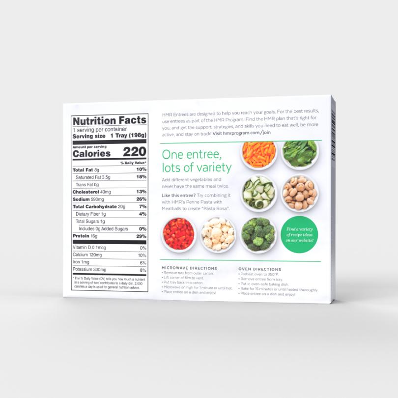 HMR Rotini Chicken Alfredo, single-serve tray