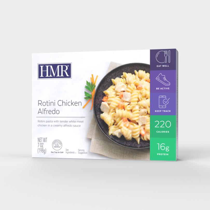 HMR Rotini Chicken Alfredo, 220 calories, 16g of protein per serving