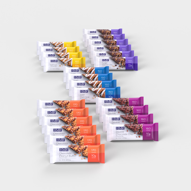 An assortment of all four flavors of HMR bars, 12 bars total