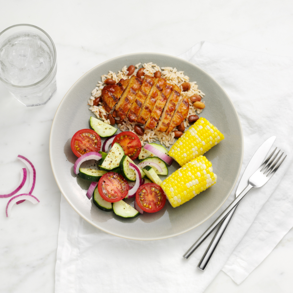 HMR Chicken with Barbecue Sauce with Rice and Beans prepared with corn and salad