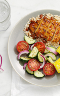 Click to see  HMR Chicken with Barbecue Sauce with Rice and Beans prepared with vegetables