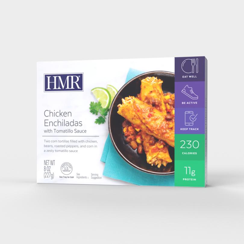 HMR Chicken Enchiladas in a zesty tomatillo sauce, 230 calories, 11g of protein per serving