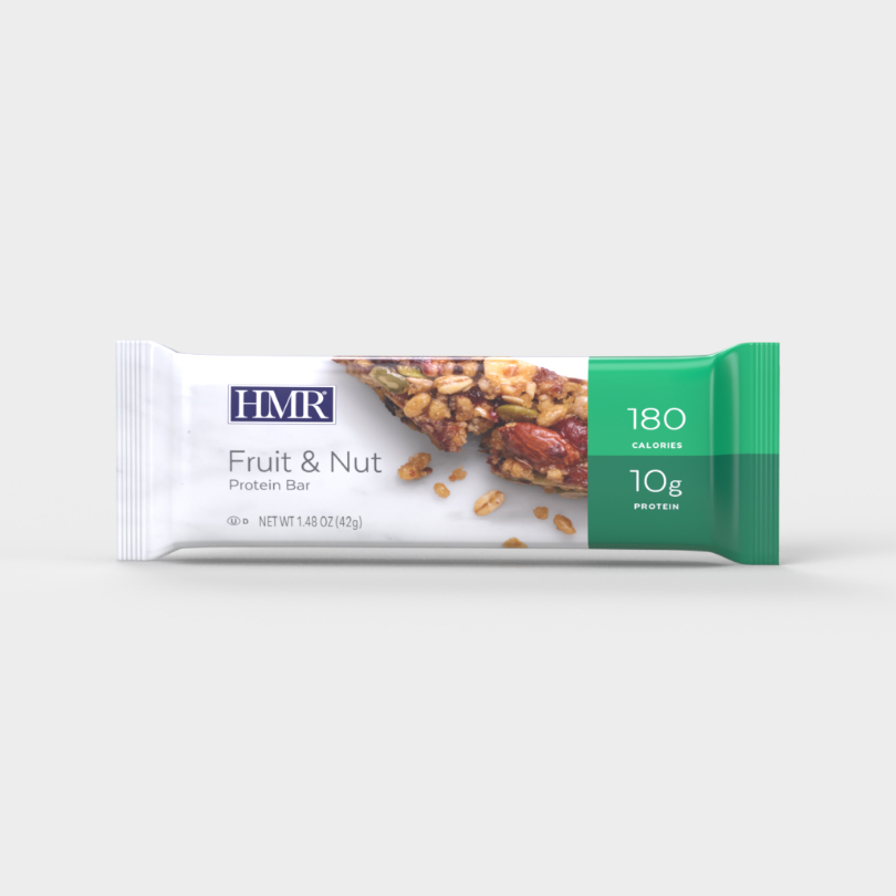 HMR Fruit and Nut Protein bar with 180 calories and 10g of protein per bar