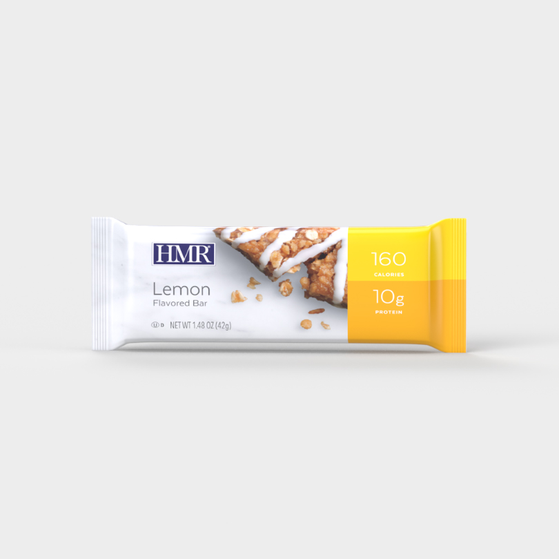 HMR Lemon flavored bar with 160 calories and 10g of protein per bar