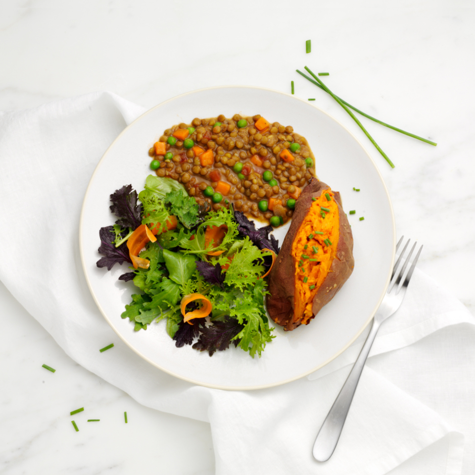 HMR Lentil Stew prepared with salad and baked sweet potato