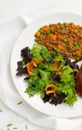 Click to see HMR Lentil Stew prepared with vegetables