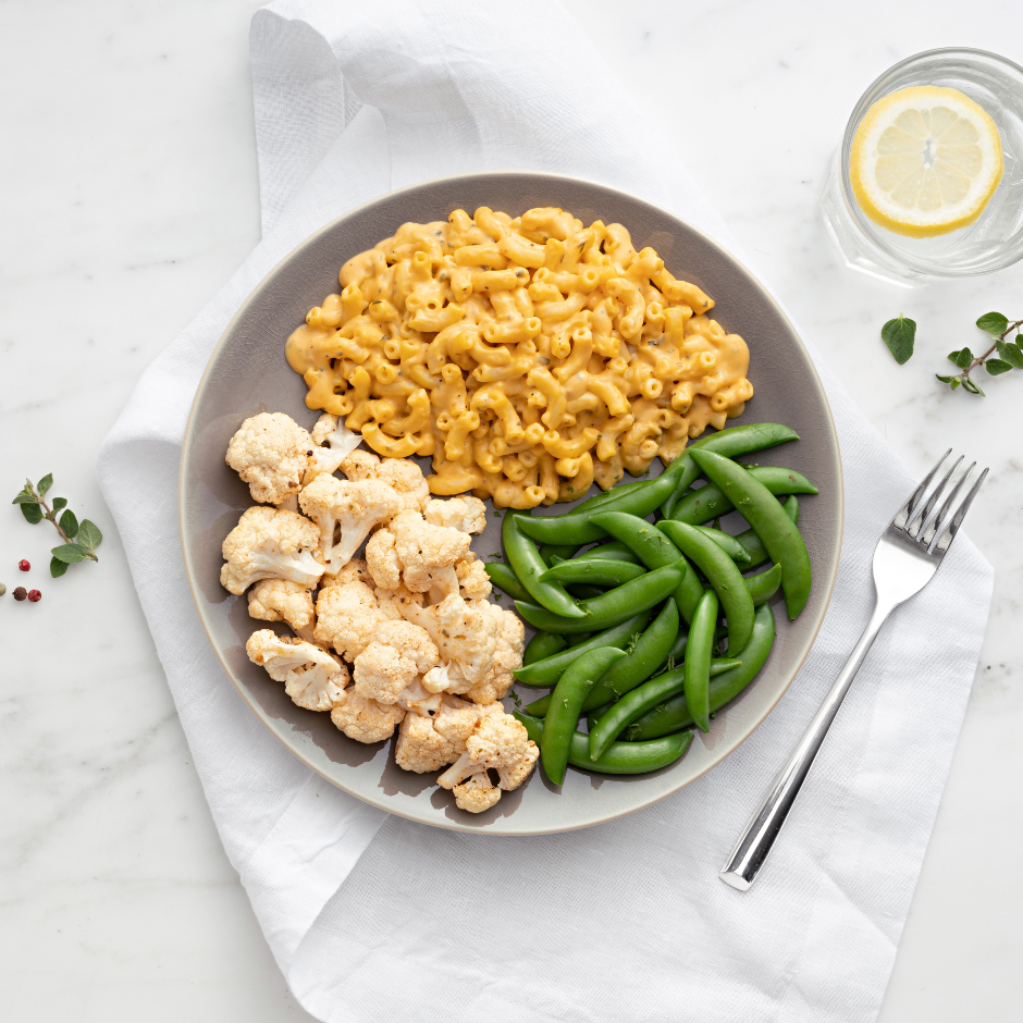 HMR Mac & Cheese with Butternut Squash prepared with cooked vegetables