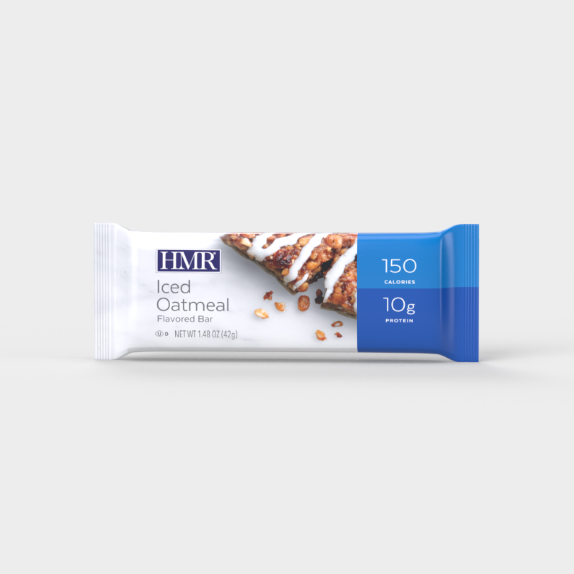 HMR Iced Oatmeal flavored bar with 150 calories and 10g of protein per bar