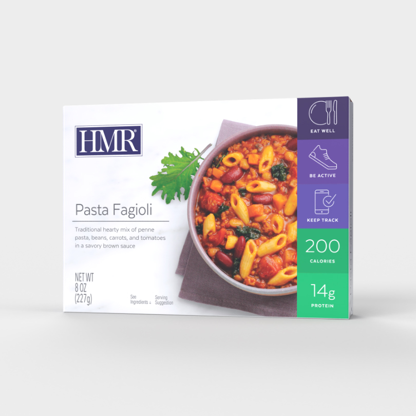 HMR Pasta Fagioli in a savory Italian sauce, 200 calories, 14g of protein per serving