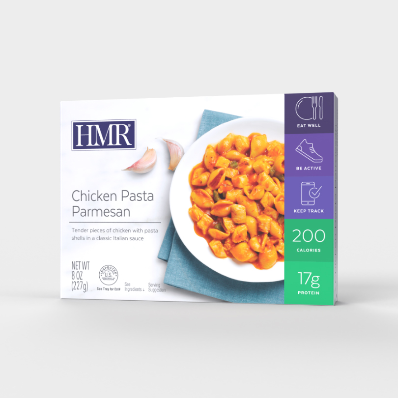 HMR Chicken Pasta Parmesan in a classic tomato sauce, 200 calories, 17g of protein per serving