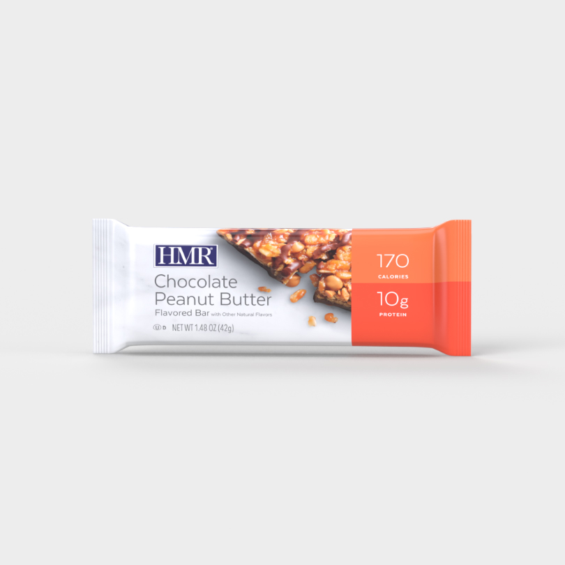HMR Chocolate Peanut Butter flavored bar with 170 calories and 10g of protein per bar