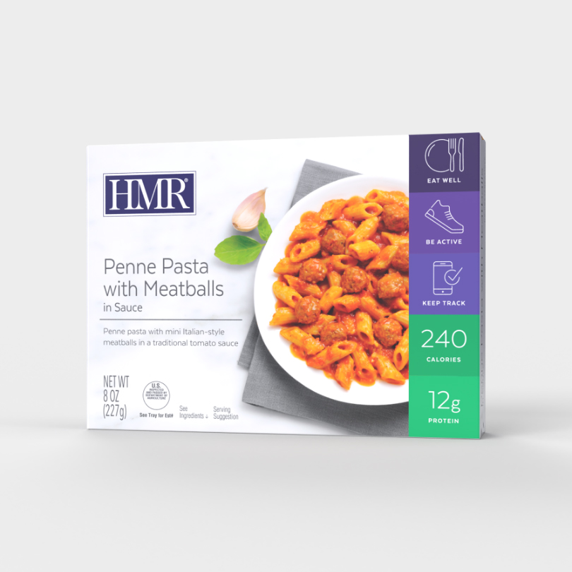 HMR Penne Pasta with Meatballs in Sauce in tomato sauce, 240 calories, 12g of protein per serving