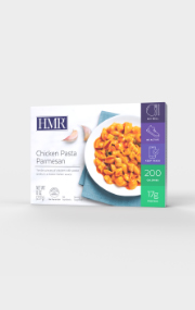 Click to see the front of the HMR Penne Pasta with Meatballs in Sauce box
