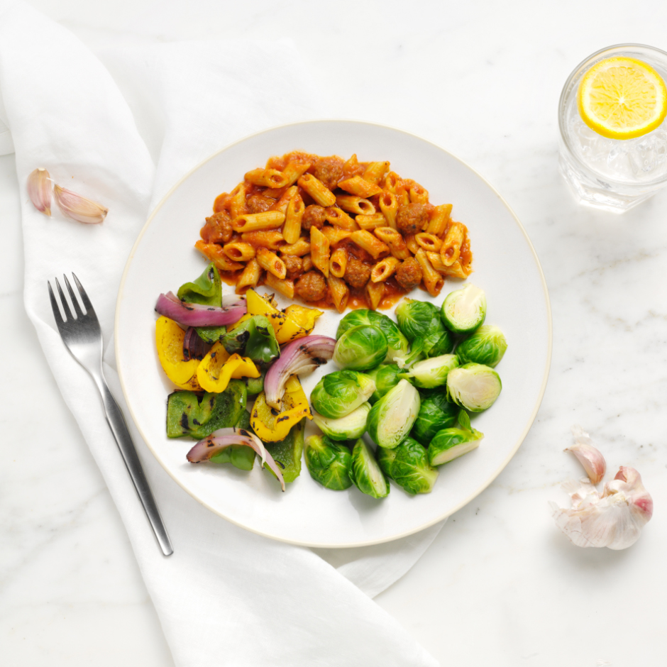 HMR Penne Pasta with Meatballs in Sauce prepared with cooked vegetables