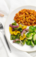 Click to see HMR Penne Pasta with Meatballs in Sauce prepared with vegetables