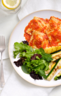 Click to see HMR Cheese and Basil Ravioli with Tomato Sauce prepared with vegetables