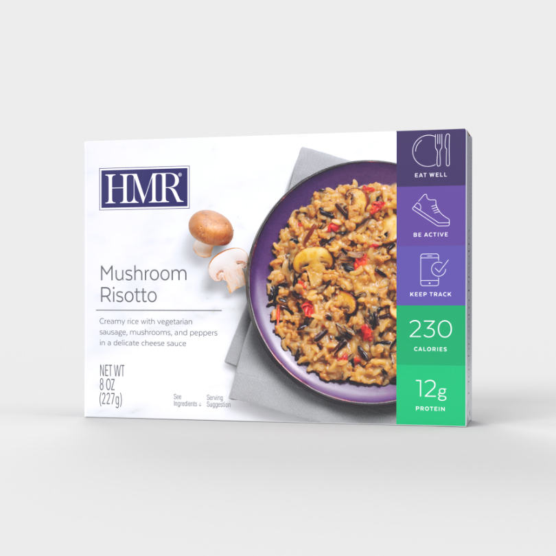 HMR Mushroom Risotto in a delicate cheese sauce, 230 calories, 12g of protein per serving, vegetaria