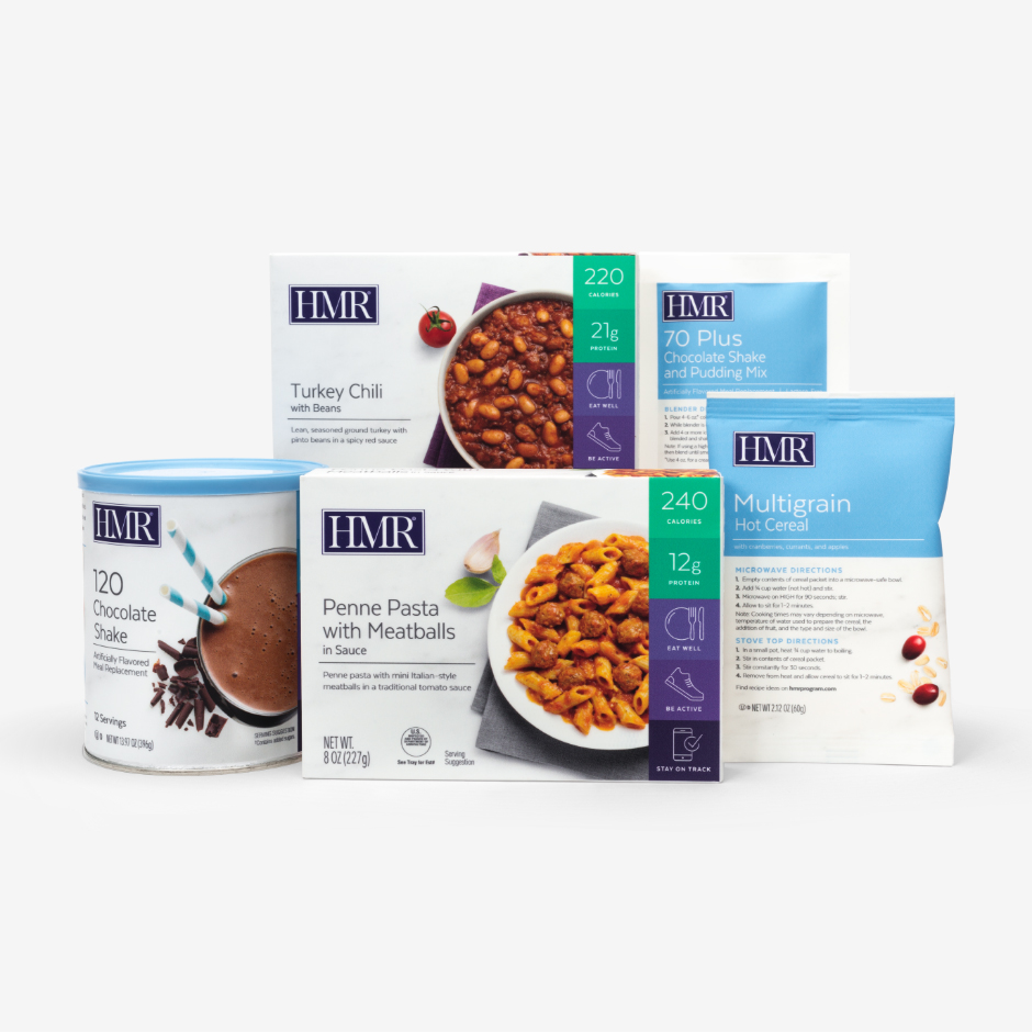 The HMR Sampler Pack includes HMR Chocolate Shake Mix, Multigrain Hot Cereal, and two HMR Entrees