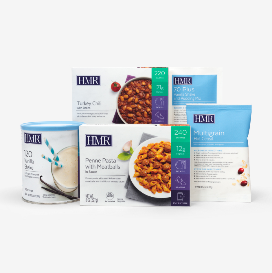 The HMR Sampler Pack includes HMR Vanilla Shake Mix, Multigrain Hot Cereal, and two HMR Entrees