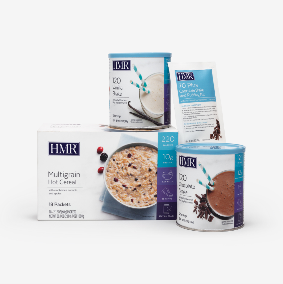 The HMR Shake and Cereal Pack includes the HMR 120 Chocolate and Vanilla Shake, Multigrain Hot Cerea